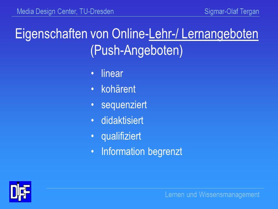 Eigenschaften von Online-Lehr-/ Lernangeboten (Push-Angeboten)