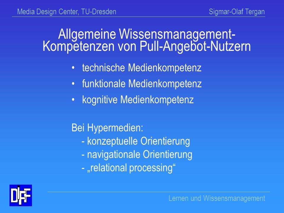 Allgemeine Wissensmanagement-Kompetenzen von Pull-Angebot-Nutzern