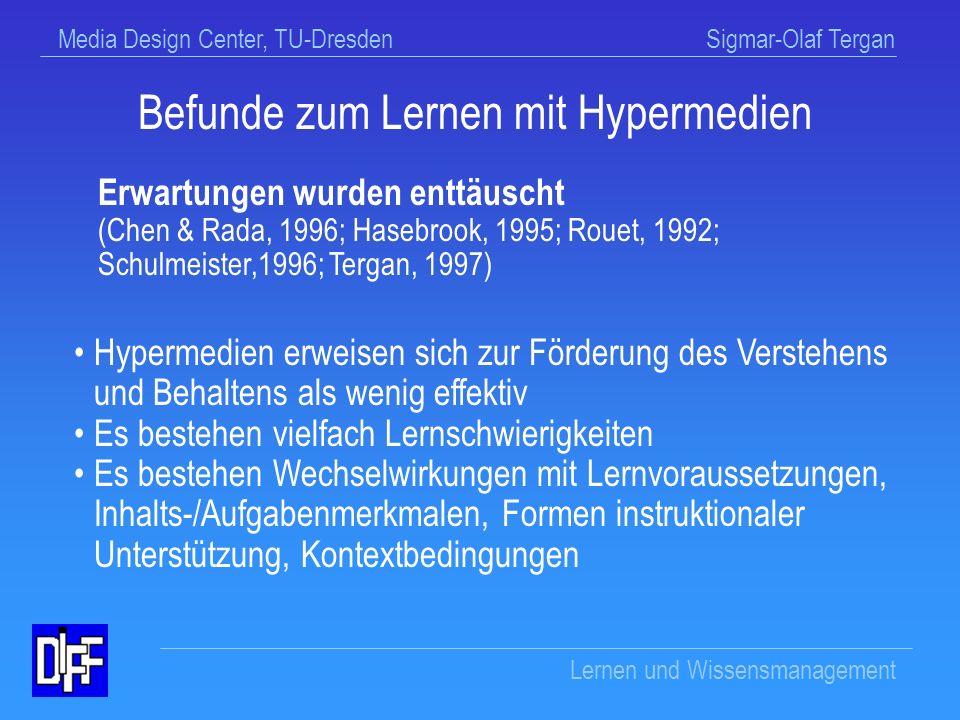 Befunde zum Lernen mit Hypermedien