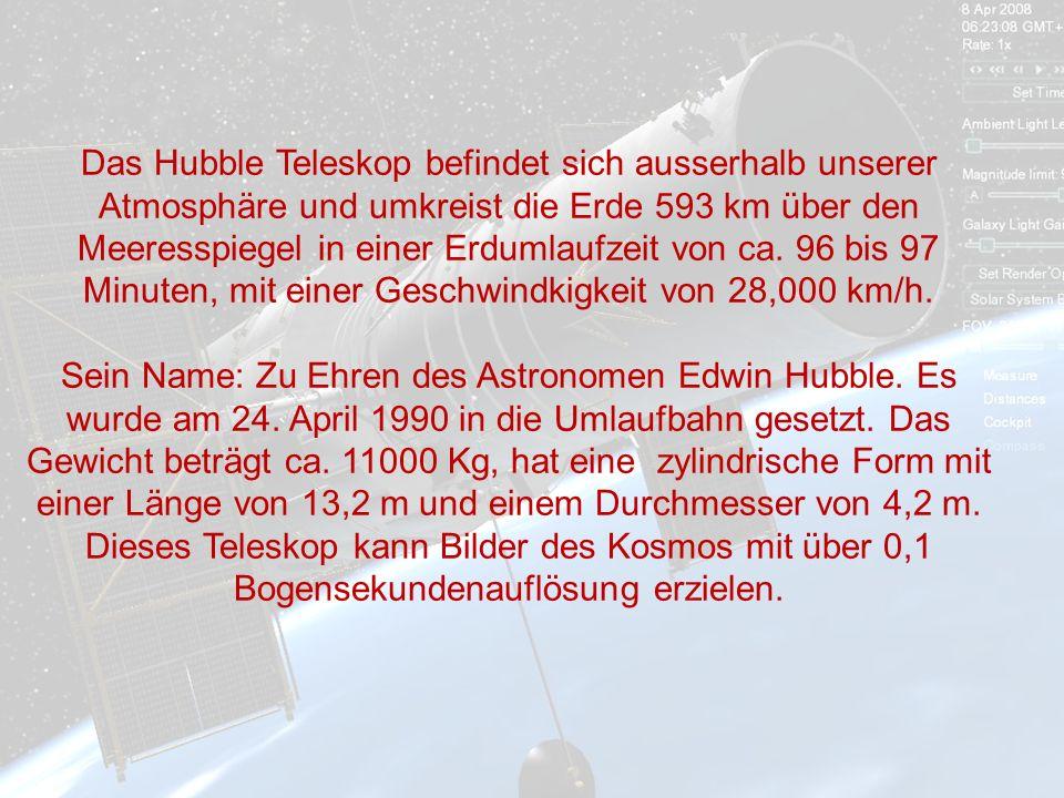 Das Hubble Teleskop befindet sich ausserhalb unserer Atmosphäre und umkreist die Erde 593 km über den Meeresspiegel in einer Erdumlaufzeit von ca. 96 bis 97 Minuten, mit einer Geschwindkigkeit von 28,000 km/h.
