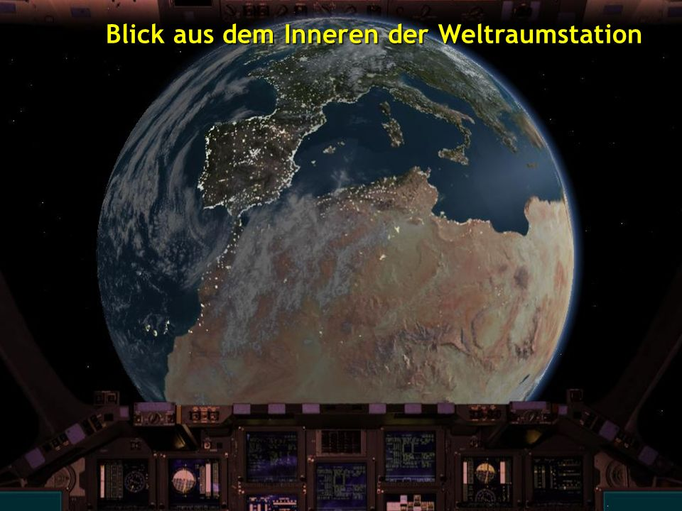 Blick aus dem Inneren der Weltraumstation