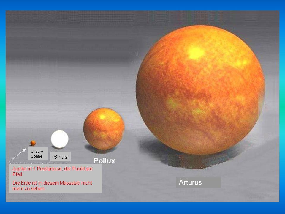 Arturus Sirius Jupiter in 1 Pixelgrösse, der Punkt am Pfeil.