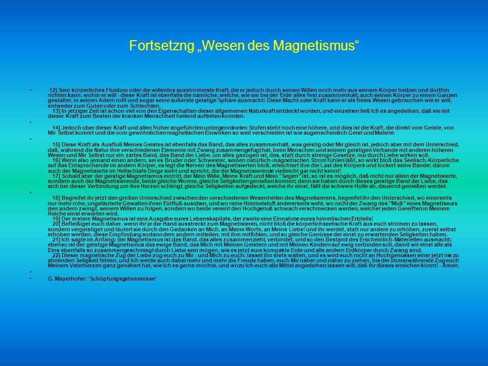 """Fortsetzng """"Wesen des Magnetismus"""