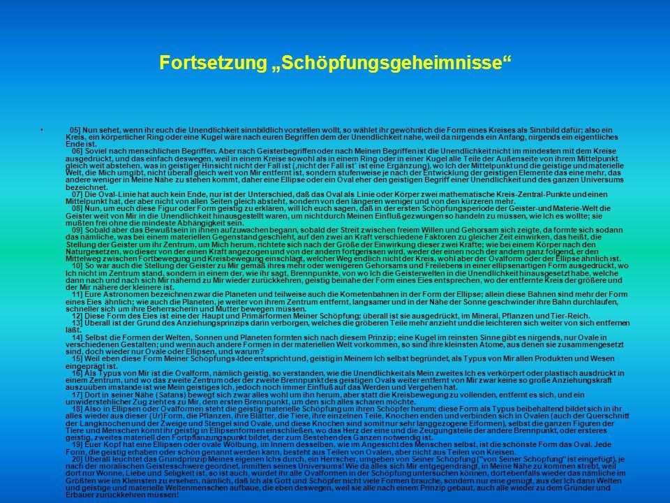"""Fortsetzung """"Schöpfungsgeheimnisse"""