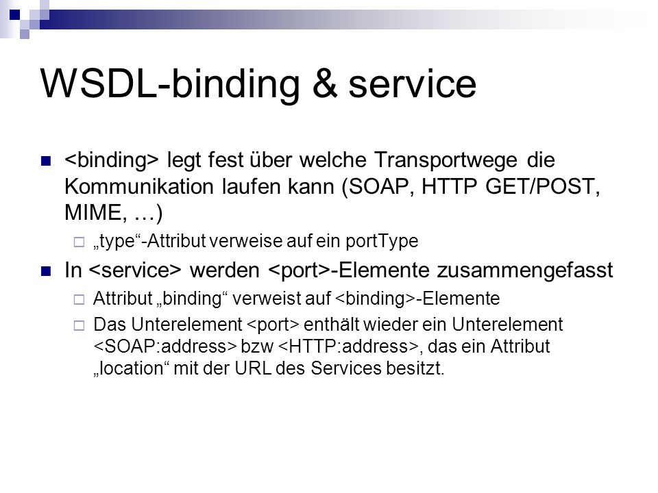 WSDL-binding & service