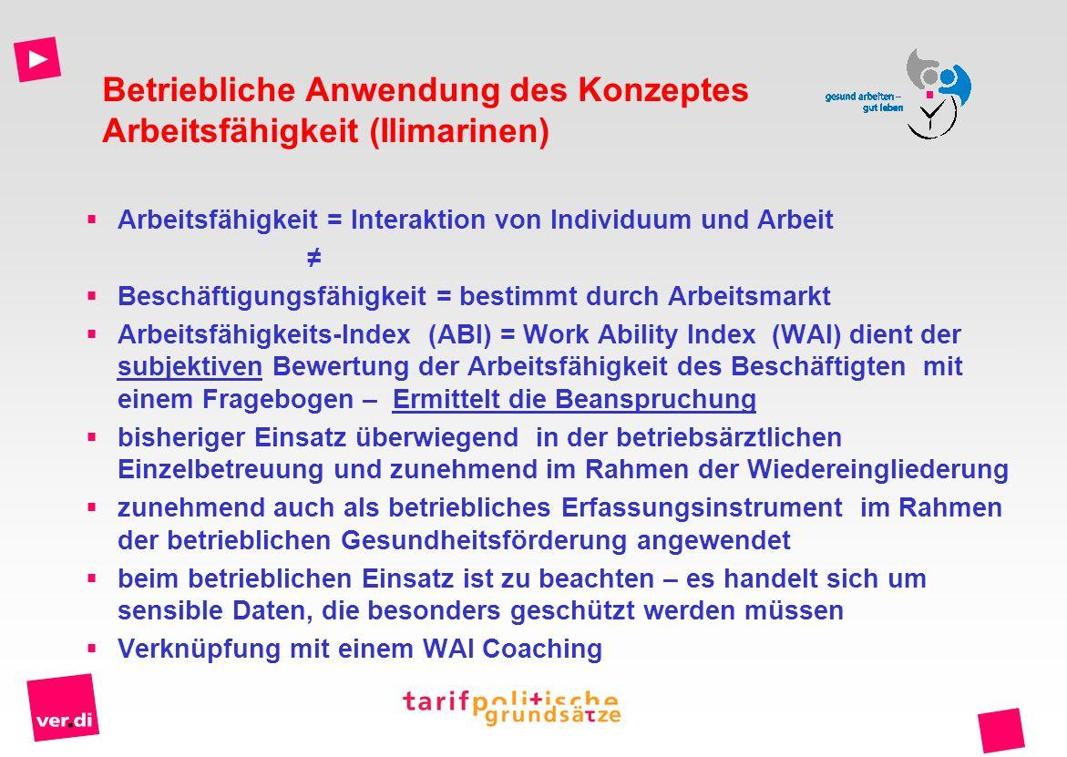 Betriebliche Anwendung des Konzeptes Arbeitsfähigkeit (Ilimarinen)