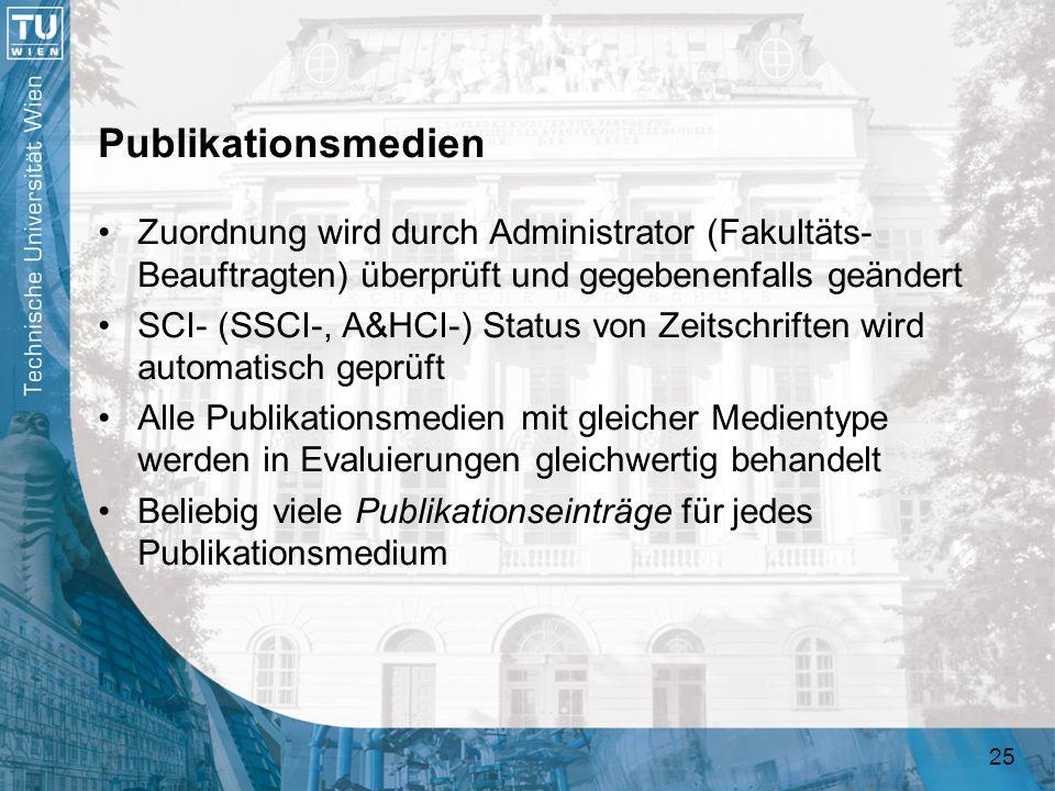 Publikationsmedien Zuordnung wird durch Administrator (Fakultäts-Beauftragten) überprüft und gegebenenfalls geändert.