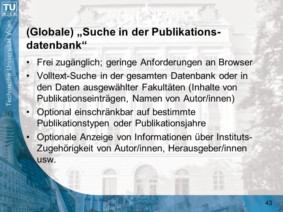"(Globale) ""Suche in der Publikations-datenbank"