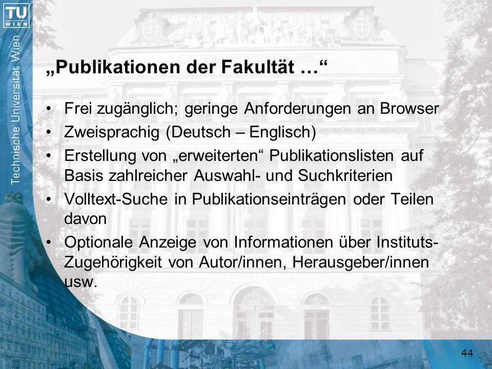 """""""Publikationen der Fakultät …"""