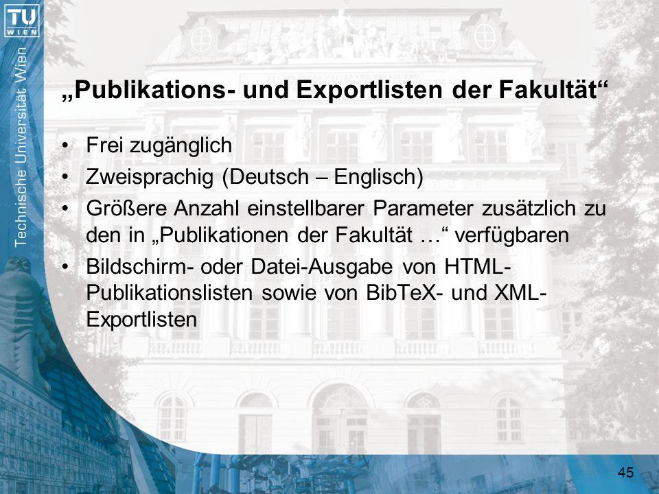 """""""Publikations- und Exportlisten der Fakultät"""