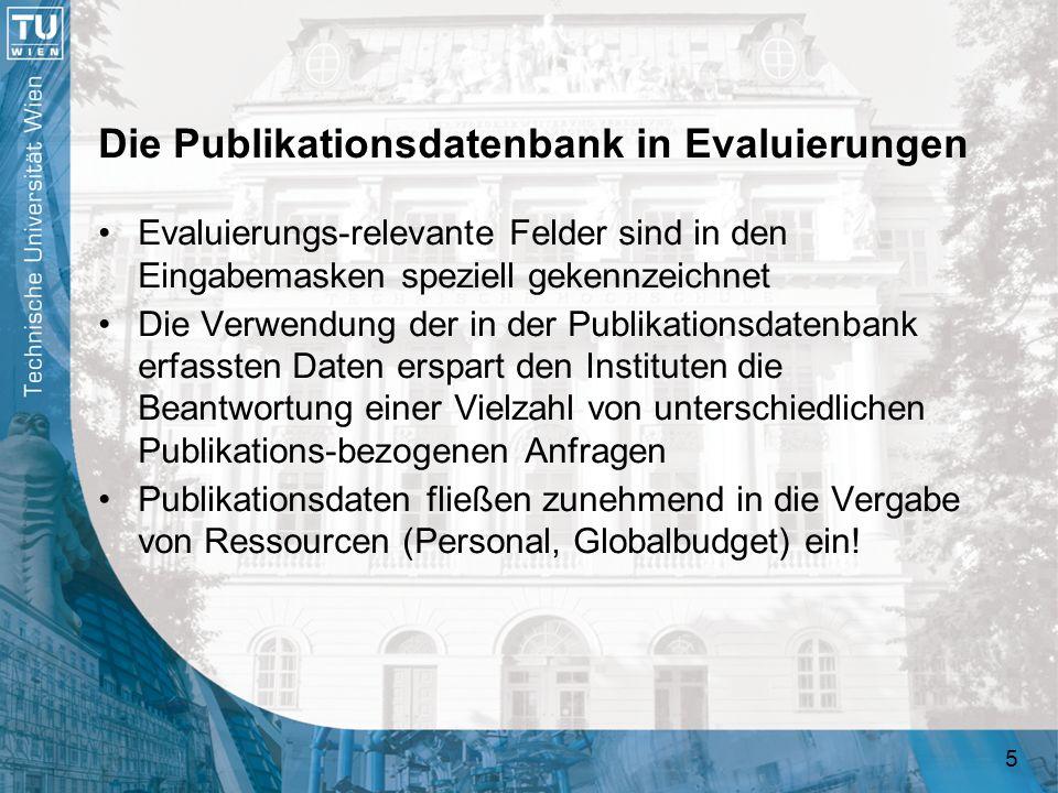 Die Publikationsdatenbank in Evaluierungen