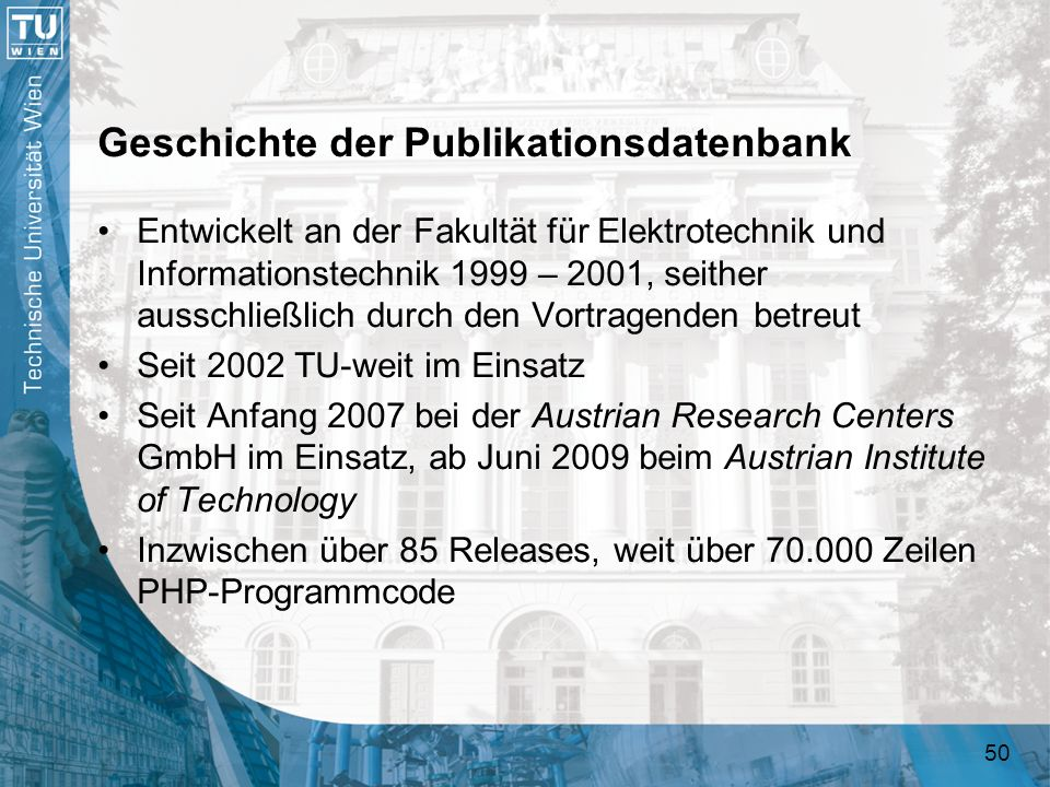 Geschichte der Publikationsdatenbank