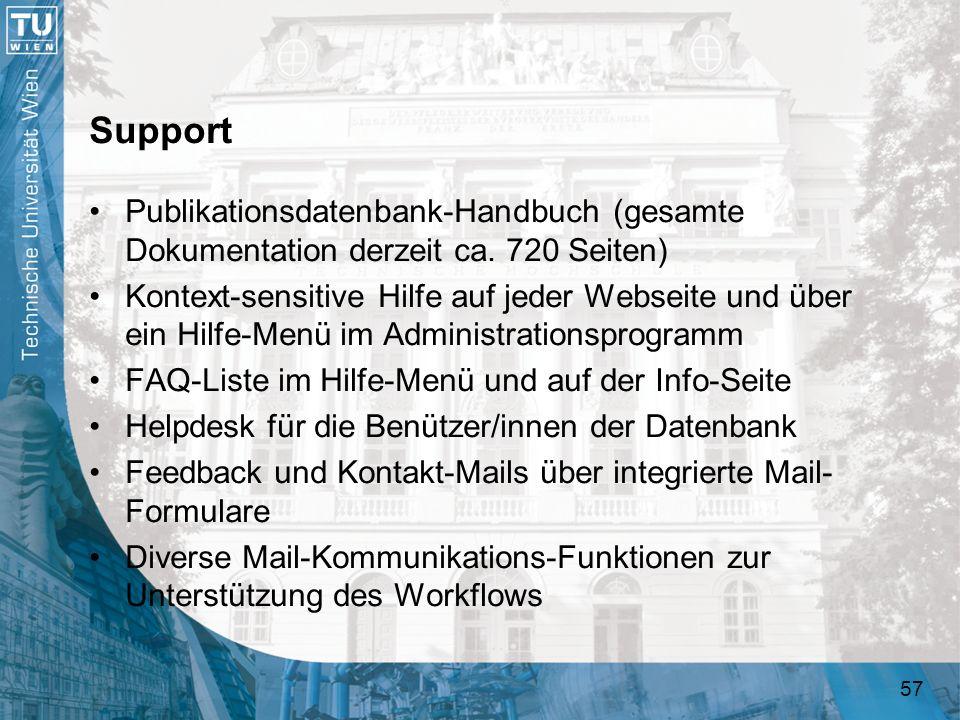 Support Publikationsdatenbank-Handbuch (gesamte Dokumentation derzeit ca. 720 Seiten)