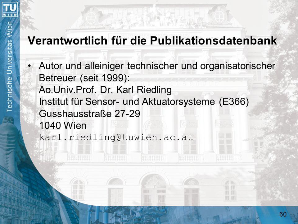 Verantwortlich für die Publikationsdatenbank