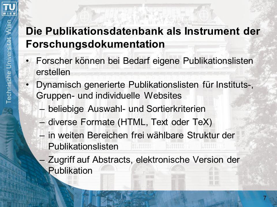 Die Publikationsdatenbank als Instrument der Forschungsdokumentation