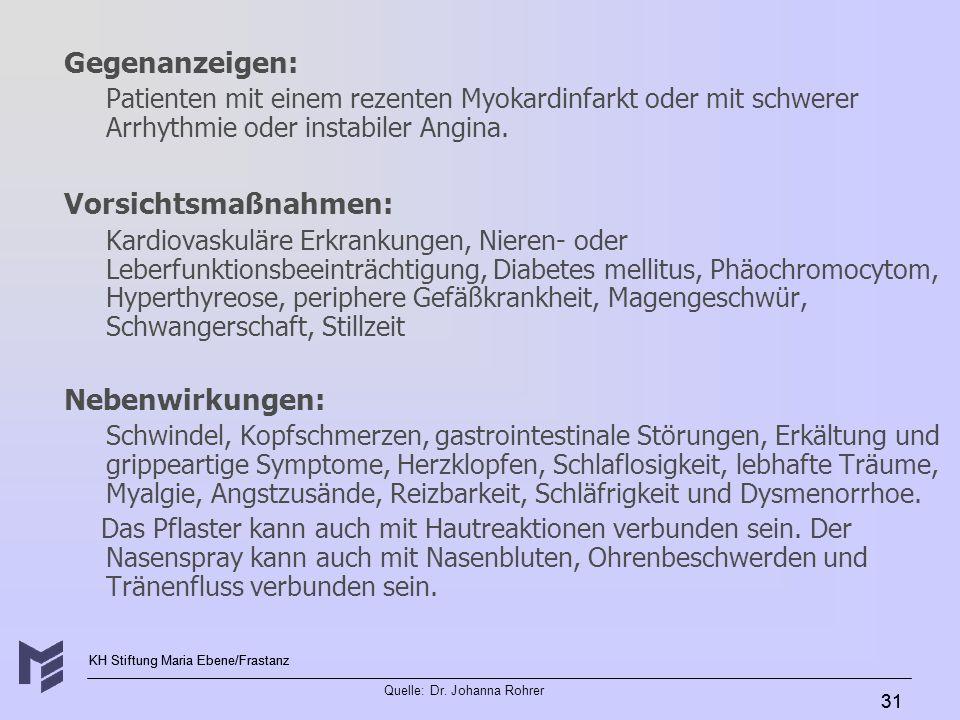 Gegenanzeigen: Vorsichtsmaßnahmen: Nebenwirkungen: