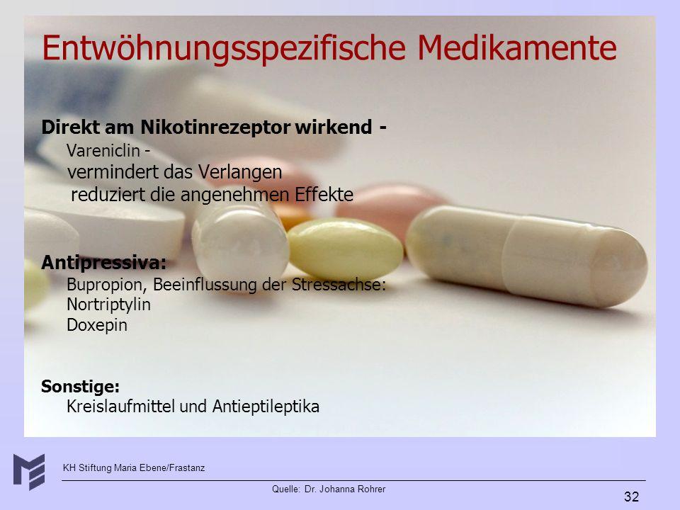 Entwöhnungsspezifische Medikamente