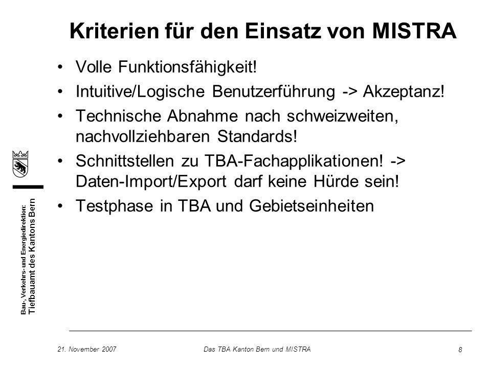 Kriterien für den Einsatz von MISTRA