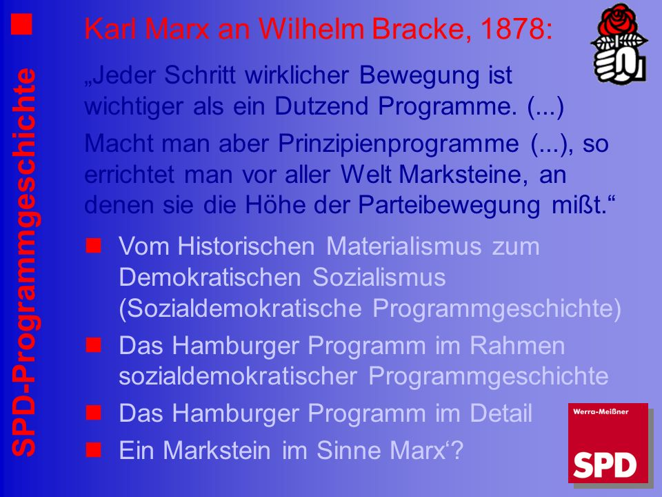 Karl Marx an Wilhelm Bracke, 1878: