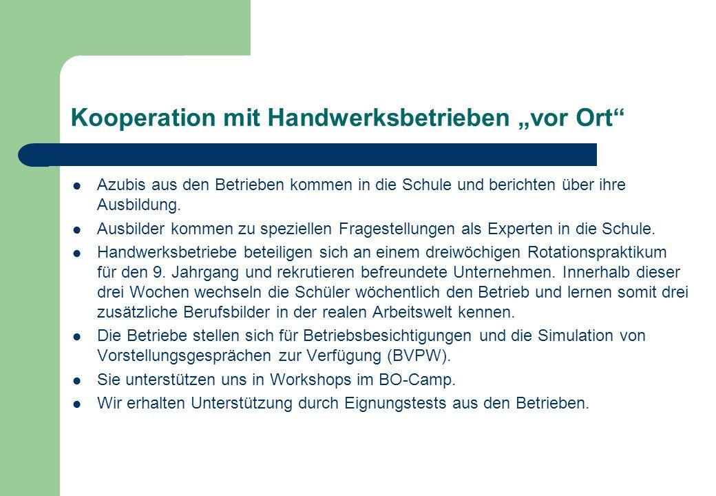 """Kooperation mit Handwerksbetrieben """"vor Ort"""