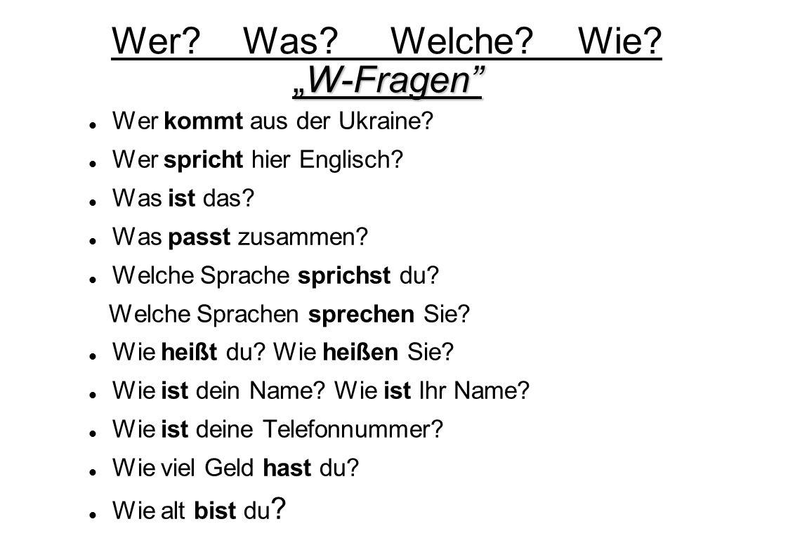 """Wer Was Welche Wie """"W-Fragen"""