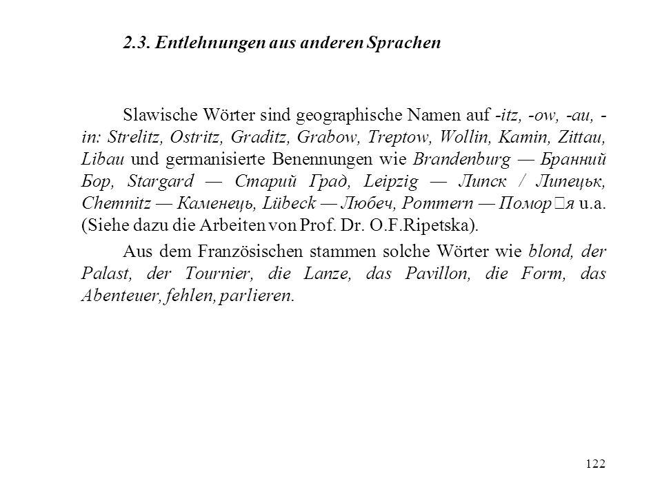 2.3. Entlehnungen aus anderen Sprachen