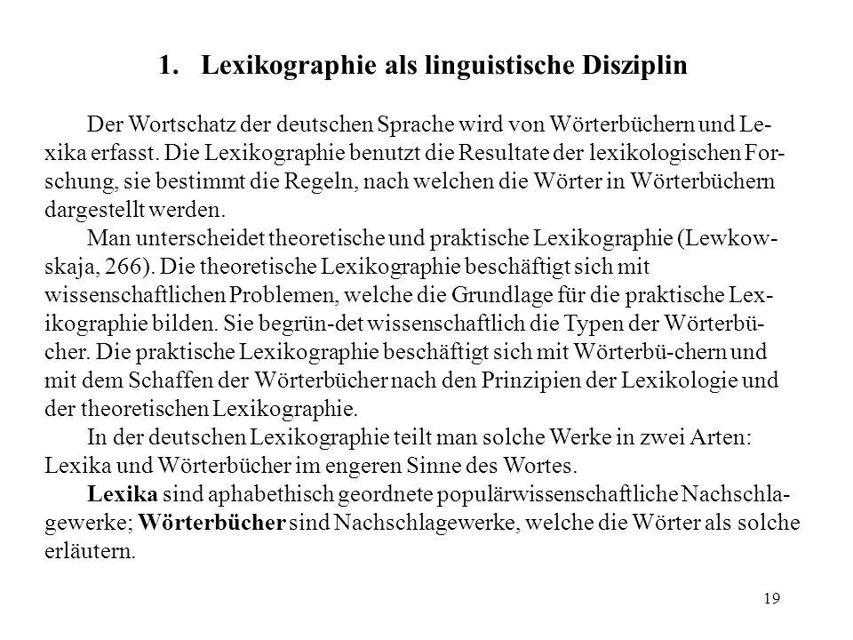 Lexikographie als linguistische Disziplin