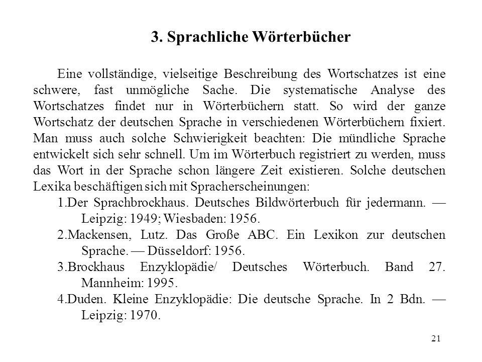 3. Sprachliche Wörterbücher