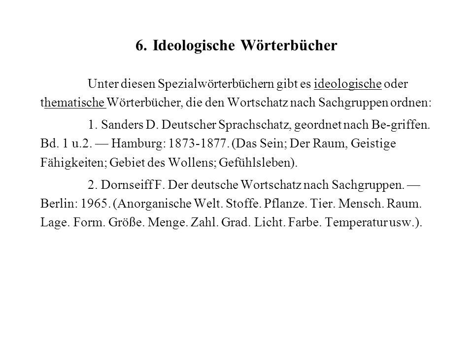6. Ideologische Wörterbücher