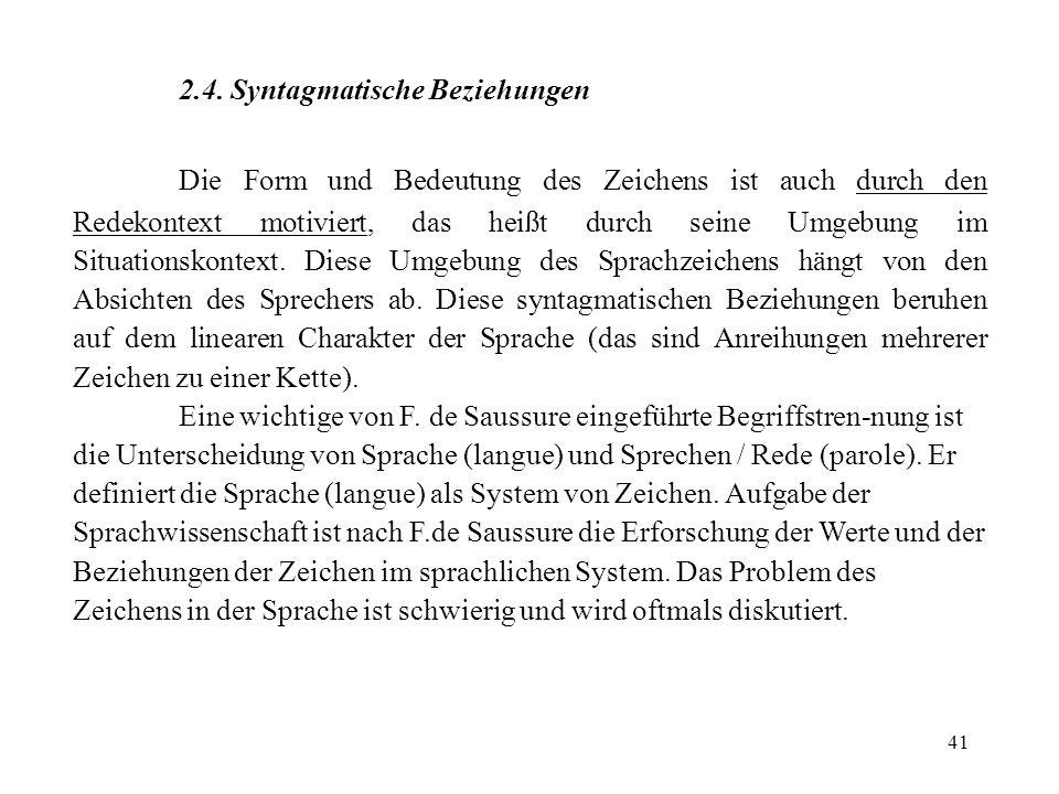2.4. Syntagmatische Beziehungen
