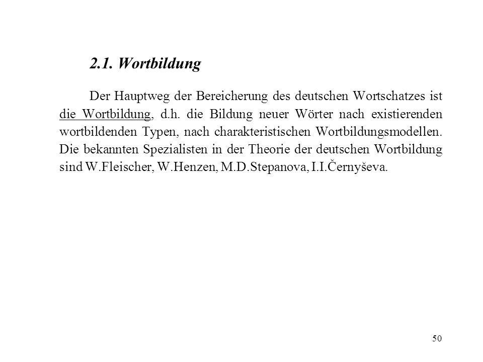 2.1. Wortbildung