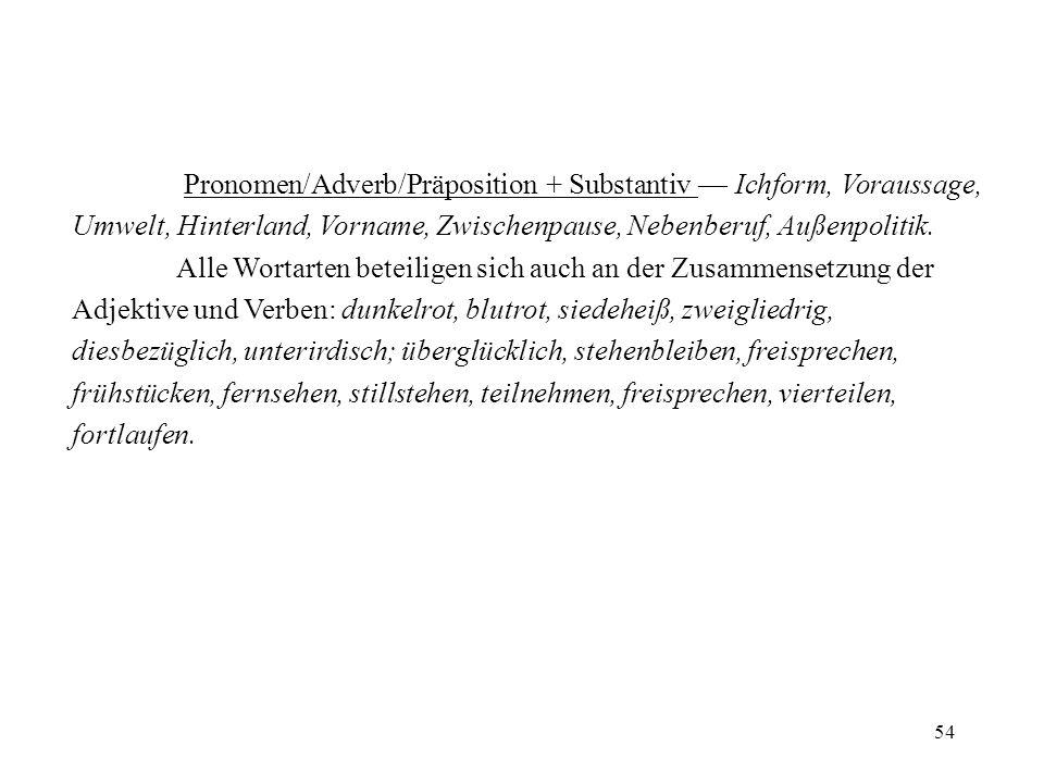 Pronomen/Adverb/Präposition + Substantiv — Ichform, Voraussage, Umwelt, Hinterland, Vorname, Zwischenpause, Nebenberuf, Außenpolitik.