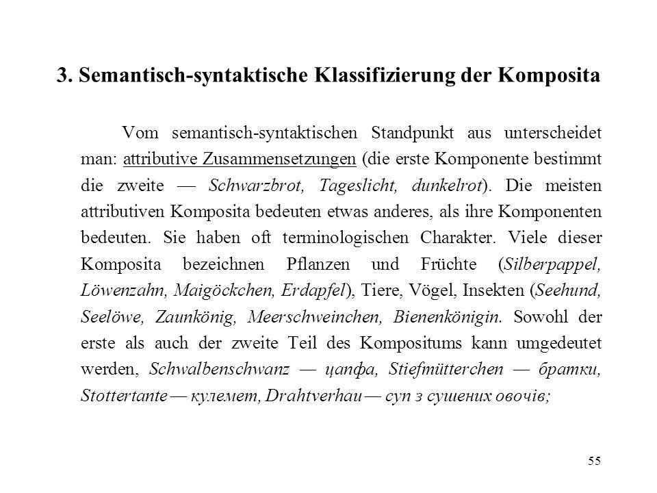 3. Semantisch-syntaktische Klassifizierung der Komposita