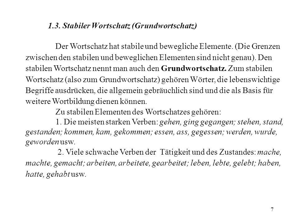1.3. Stabiler Wortschatz (Grundwortschatz)