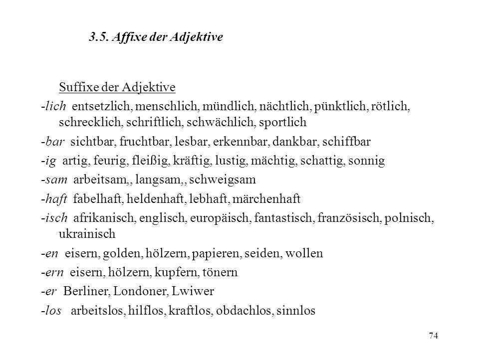 3.5. Affixe der Adjektive Suffixe der Adjektive.