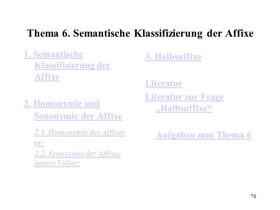 Thema 6. Semantische Klassifizierung der Affixe