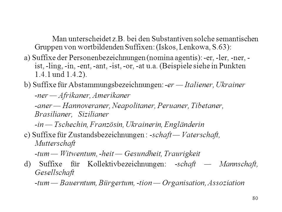 Man unterscheidet z.B. bei den Substantiven solche semantischen Gruppen von wortbildenden Suffixen: (Iskos, Lenkowa, S.63):