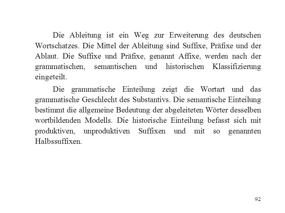 Die Ableitung ist ein Weg zur Erweiterung des deutschen Wortschatzes