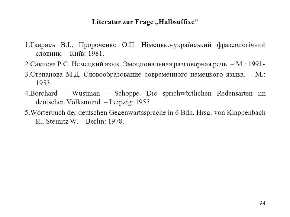 """Literatur zur Frage """"Halbsuffixe"""