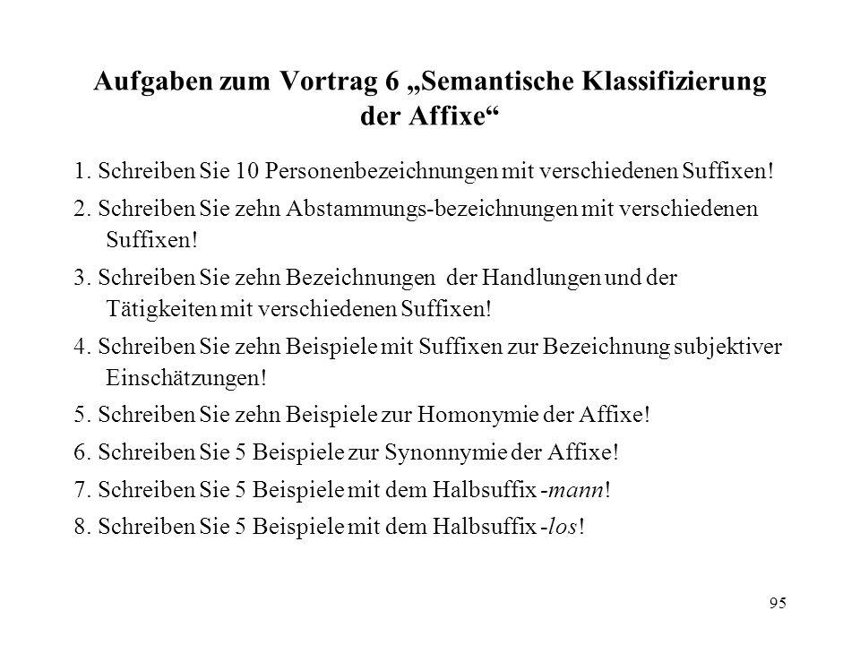 """Aufgaben zum Vortrag 6 """"Semantische Klassifizierung der Affixe"""