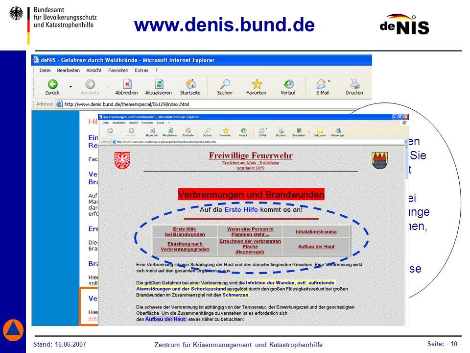 www.denis.bund.de Informationen darüber, wie Sie sich selbst oder
