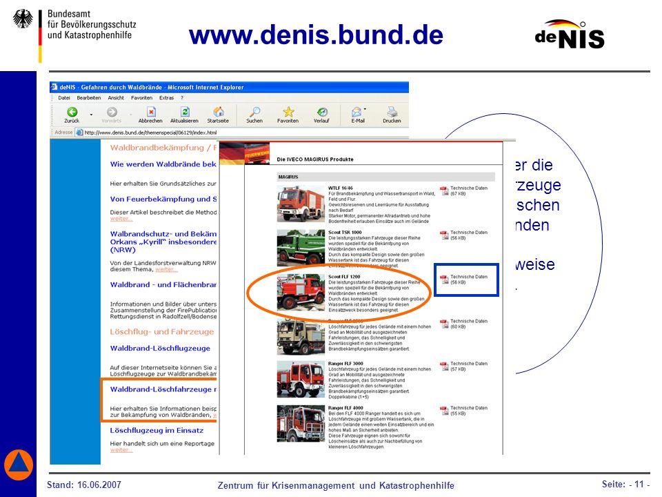 www.denis.bund.de Infos über die Löschfahrzeuge mit technischen Daten finden.