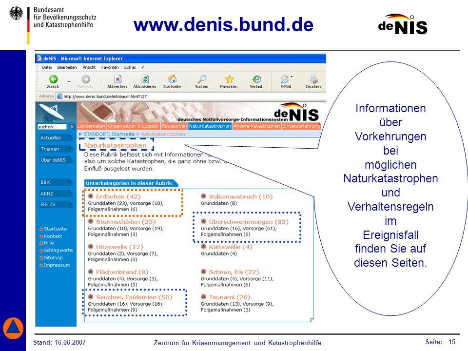 www.denis.bund.de Informationen über Vorkehrungen bei