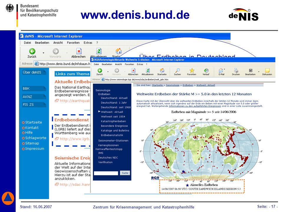 www.denis.bund.de Über Erdbeben in Deutschland oder weltweit