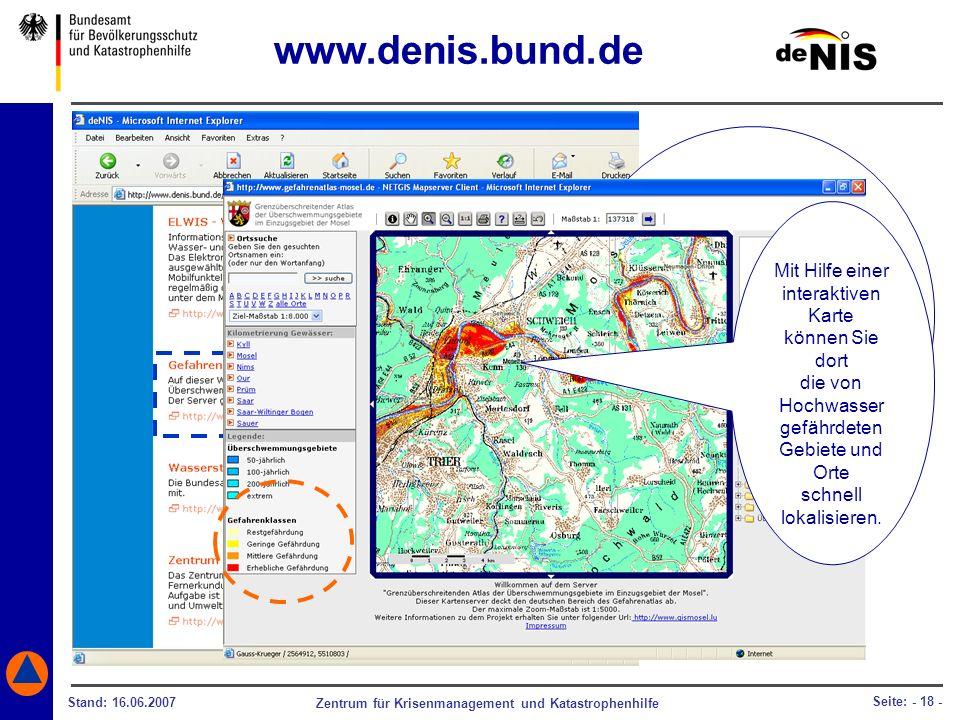 www.denis.bund.de Ob und wo eine Katastrophe beispielsweise