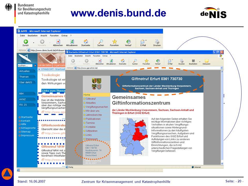 www.denis.bund.de Im Falle einer Vergiftung, bekommen Sie über deNIS