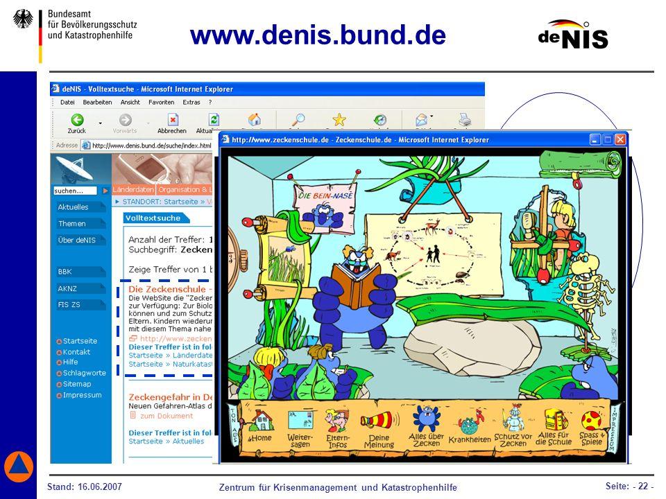 www.denis.bund.de deNIS hilft Ihnen auch dabei, die Zeckengefahr Ihren