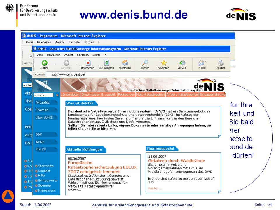 www.denis.bund.de Wir danken für Ihre Aufmerksamkeit und freuen uns, Sie bald auf unserer. deNIS-Internetseite.