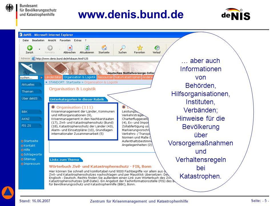 www.denis.bund.de … aber auch Informationen von Behörden,