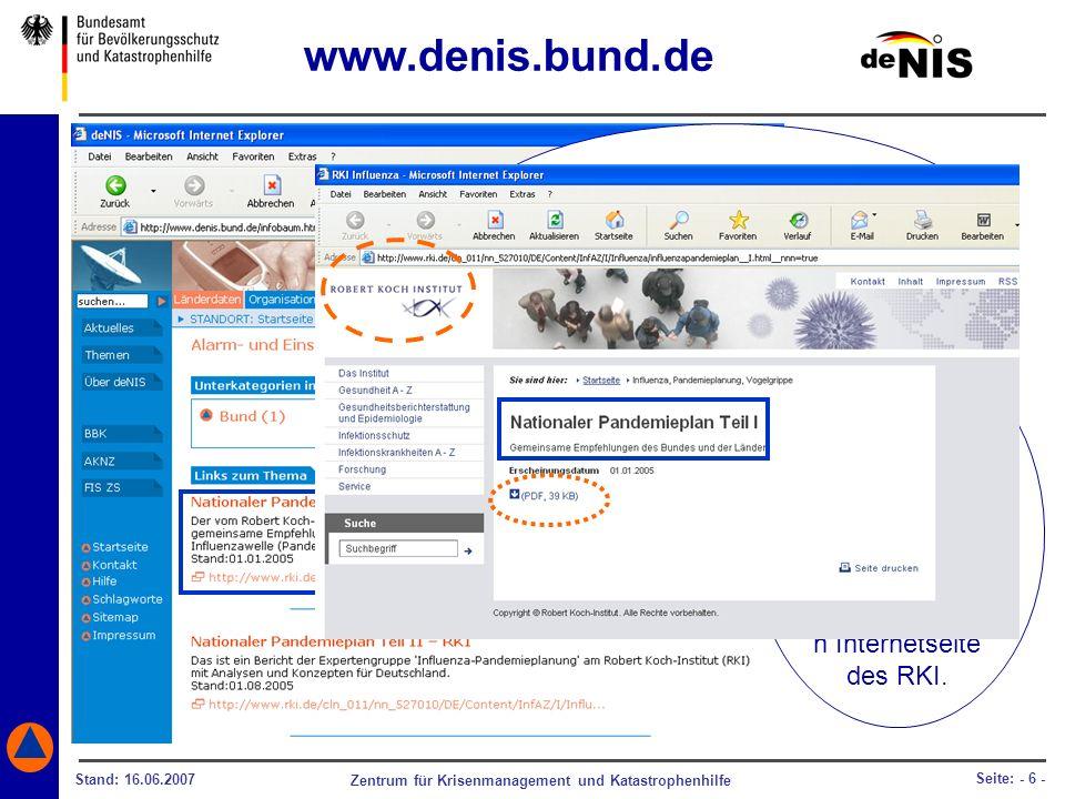 www.denis.bund.de Bei einer möglichen Influenzawelle können Sie beispielsweise den. Nationalen Pandemieplan.